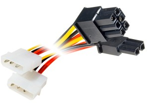 Cordon d\'alimentation carte graphique PCI-E 2.0 - 2x molex (M) vers 8 pins (F)