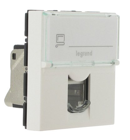 LEGRAND MOSAIC - Prise RJ45 Cat 6a STP, 2 modules, blanc