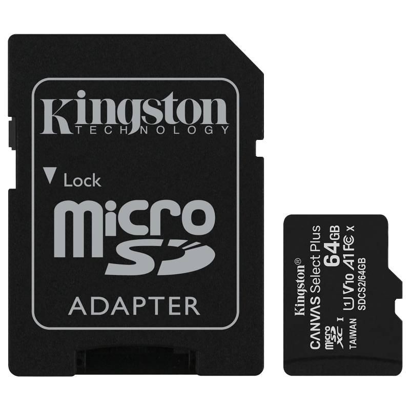 Carte mémoire KINGSTON microSD Canvas Select Plus - 64 Go, adaptateur SD fourni